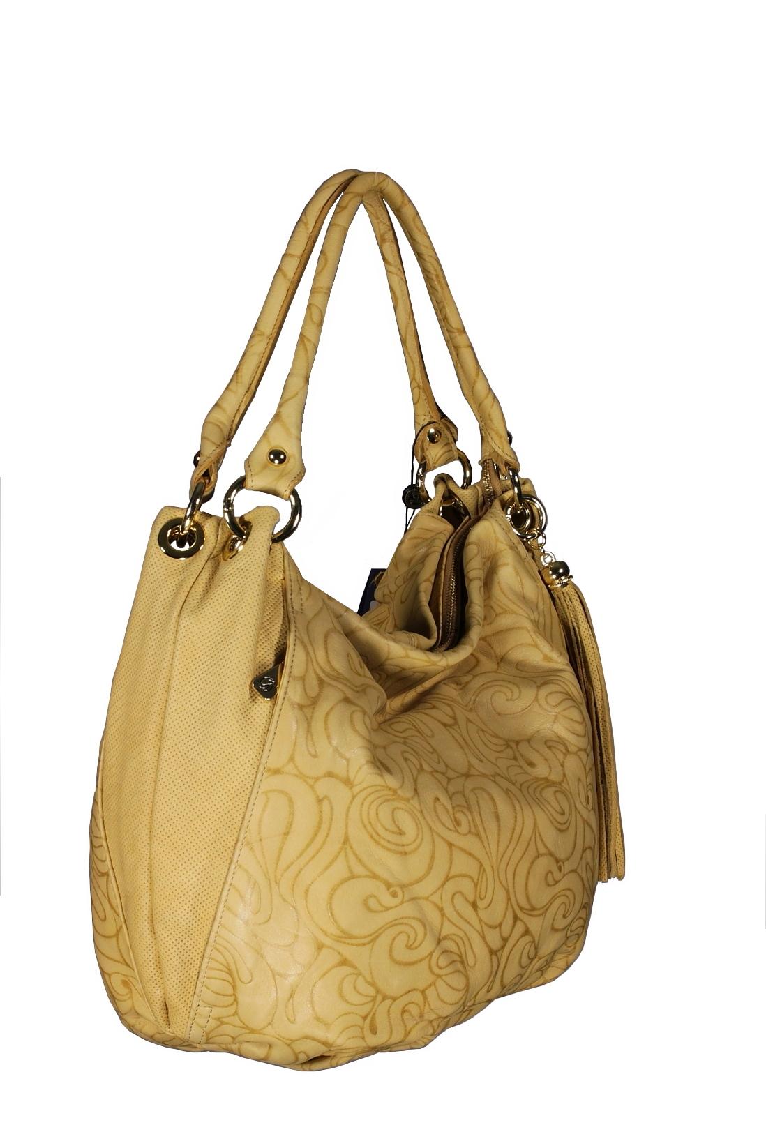 Женская итальянская бежевая сумка Leo Ventoni из